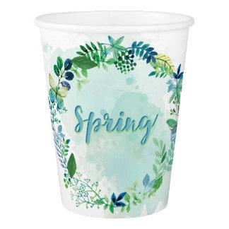 春-水彩画のリースの花模様及び蝶 紙コップ