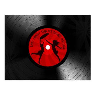 昨晩DJは私の生命レコードの黒を救いました ポストカード