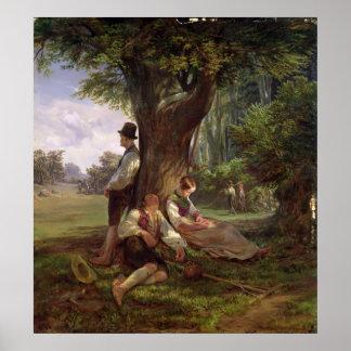 昼寝1841年を持っている小作人 ポスター