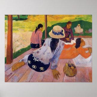 「昼寝」の-ポール・ゴーギャンのキャンバスのプリント ポスター