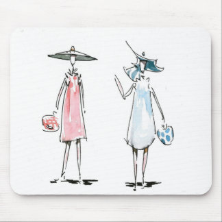 昼食を共にする女性マウスパッド マウスパッド