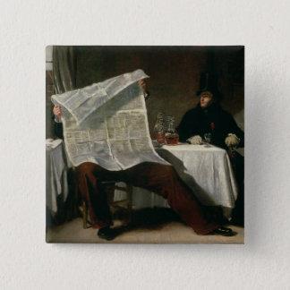 時を待っています、1831年(キャンバスの油) 5.1CM 正方形バッジ