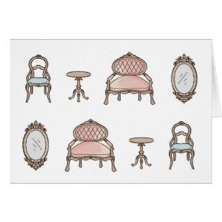 時代物の家具のブランク カード