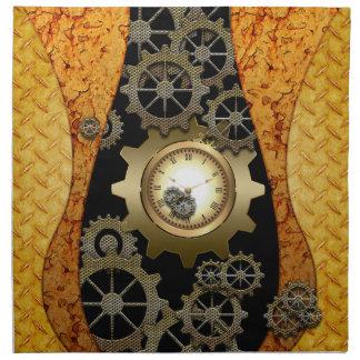 時計およびギアとの素晴らしいsteampunkのデザイン ナプキンクロス
