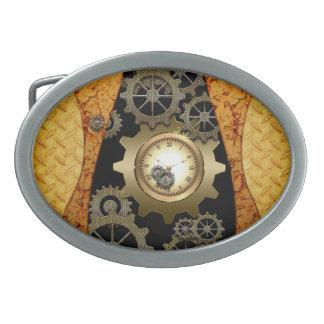 時計およびギアとの素晴らしいsteampunkのデザイン 卵形バックル