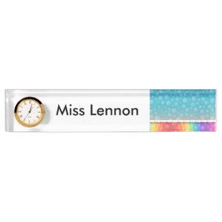 時計が付いている名前入りな先生の机用ネームプレート デスクネームプレート