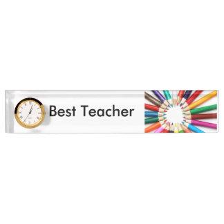 時計が付いている最も最高のな先生の机用ネームプレート デスクネームプレート