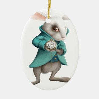 時計が付いている白いウサギ セラミックオーナメント