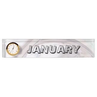 時計が付いている1月の机用ネームプレート