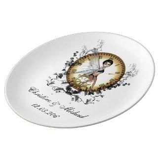 時計のかわいく小さいsteampunkの妖精 磁器プレート