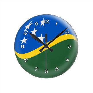 時計のソロモン諸島の旗の泡デザイン ラウンド壁時計