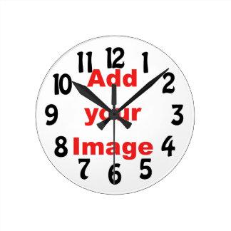 時計のテンプレート-おもしろい-あなたのイメージを加えて下さい ラウンド壁時計