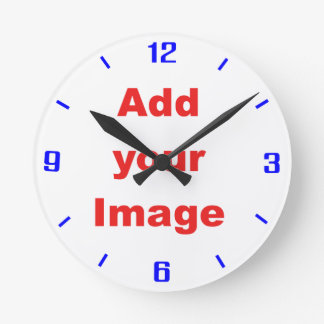 時計のテンプレート-シンプルな青イメージを加えます ラウンド壁時計