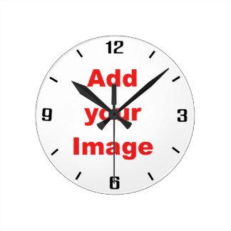 時計のテンプレート-シンプル-あなたのイメージを加えて下さい ラウンド壁時計