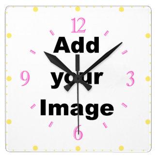 時計のテンプレート-正方形及び数パステルはイメージを加えます スクエア壁時計