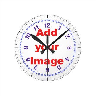 時計のテンプレート-複雑な青イメージを加えます ラウンド壁時計
