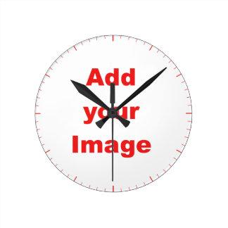 時計のテンプレート-赤いマーカー-あなたのイメージを加えて下さい ラウンド壁時計