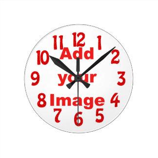 時計のテンプレート-赤おもしろいはあなたのイメージを加えます ラウンド壁時計