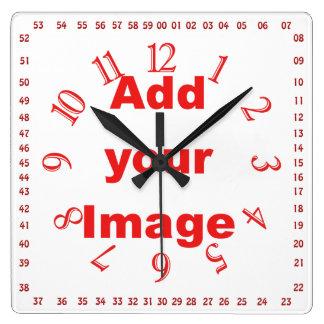時計のテンプレート-赤正方形及び数はイメージを加えます スクエア壁時計