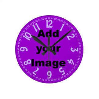 時計のテンプレート-開いた顔の薄紫-あなたのイメージを加えて下さい ラウンド壁時計