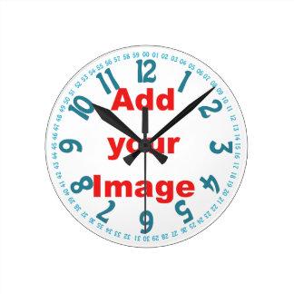 時計のテンプレート-青顔を加えますイメージを開けて下さい ラウンド壁時計