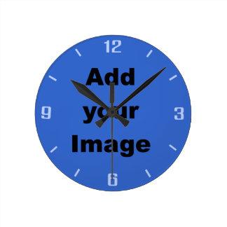 時計のテンプレート-青-あなたのイメージを加えて下さい ラウンド壁時計