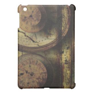 時計のSteampunkの時計のデジタル汚れたコラージュ iPad Miniケース