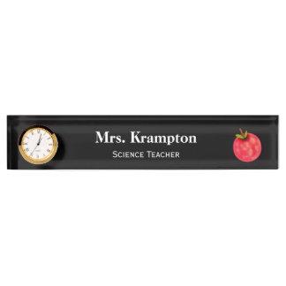 時計を持つ先生のための机の名札 デスクネームプレート