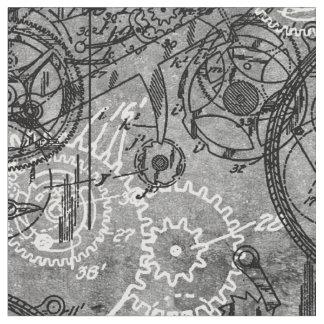 時計仕掛けのコラージュの灰色 ファブリック