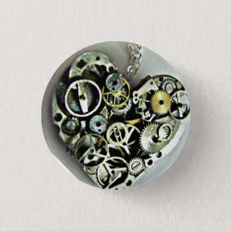 時計仕掛けのハートボタン 3.2CM 丸型バッジ