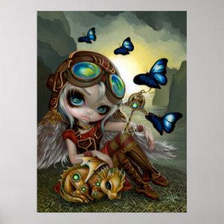 時計仕掛けのDragonlingのsteampunkのドラゴンの妖精の芸術 ポスター