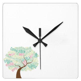 時計生命の樹 スクエア壁時計