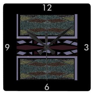 時計-バーガンディのインドパターン、黒い灰色 スクエア壁時計