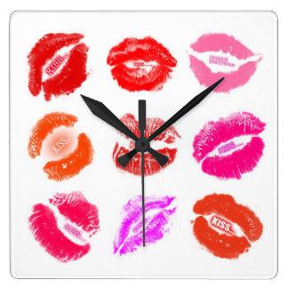 時計-口紅のキスのキス スクエア壁時計