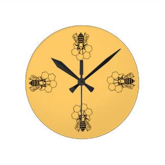 時計-櫛の蜂蜜の蜂 ラウンド壁時計