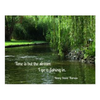 時間および釣についての引用文 ポストカード