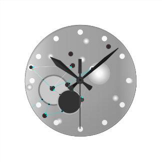 時間のつながり|の灰色の抽象芸術 ラウンド壁時計