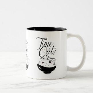 時間のオートムギかわいい-おもしろいのしゃれ ツートーンマグカップ