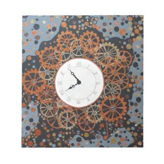 時間の作成。 アクリルの絵画、産業steamp ノートパッド