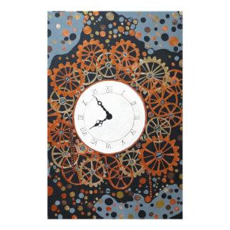 時間の作成。 アクリルの絵画、産業steamp 便箋