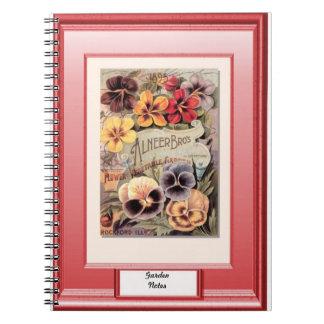 時間の種、庭のノート、かわいらしいパンジー ノートブック