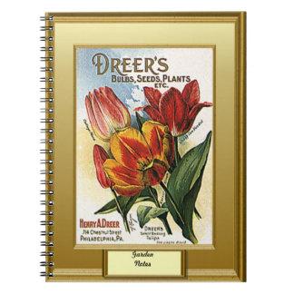 時間の種、庭のノート、チューリップ ノートブック
