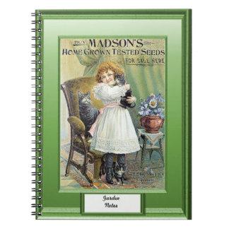 時間の種、庭のノート、子ネコを持つ女の子 ノートブック