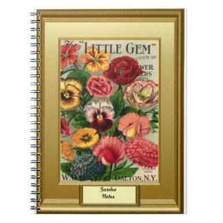 """時間の種、庭のノート、""""小さい宝石"""" ノートブック"""