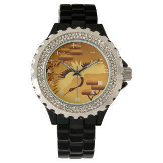 時間の金クレーンのタオ 腕時計