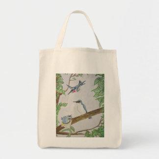 時間の食料雑貨のトートバックを食べ物を与えるハチドリ家族 トートバッグ