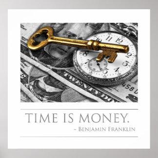 時間はフランクリン金銭の引用文です ポスター