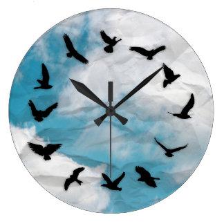 時間は最小主義のノベルティの鳥の柱時計を飛ばします ラージ壁時計