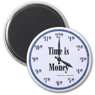 時間は金銭の青い文字盤の磁石です マグネット
