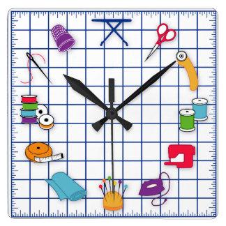 時間をキルトにし、縫って下さい スクエア壁時計